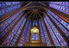 interior of Sainte Chappelle, Paris, France