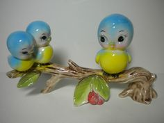 Vintage Norcrest Lefton Bluebirds on a Cherry Branch