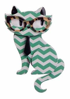 """Erstwilder Limited Edition Elissa the Indie Cat mint resin brooch. """"Just chillin' on this purrfect day. What's for lunch Elissa? Kale smoothies all the way! Crazy Cat Lady, Crazy Cats, Indy Cat, Indie, Cat Jewelry, Resin Jewelry, Jewellery, Quirky Fashion, Quirky Gifts"""