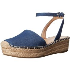 Franco Sarto Women's L-Lariza Espadrille Sandal ($62) ❤ liked on Polyvore featuring shoes, sandals, ankle strap wedge sandals, closed toe wedge sandals, espadrille sandals, buckle sandals and closed toe espadrilles