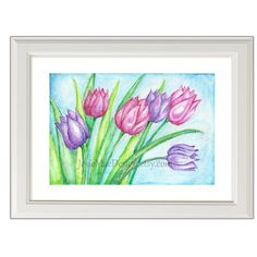 Garden Art Print Flowers Tulips Painting