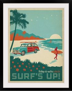 "Retro themed tropical wall art, ""Surf's Up!"" framed print by Anderson Design Group. Check it out at GreatBIGCanvas.com."