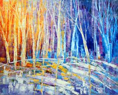 Th Color of Snow, abstract landscape painting by Tatiana Iliina