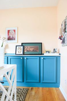 Gorgeous home office makeover with budget-friendly DIY projects that look high-end! Great ideas for DIY Office decor, office organization and storage! Built In Buffet, Built In Dresser, Unfinished Kitchen Cabinets, Built In Cabinets, Stock Cabinets, Diy Cabinets, Blue Cabinets, Home Office Cabinets, Home Office Furniture