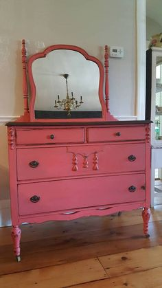 Available on Etsy. Painted coral dresser with mirror. Country Chic Paint, Full Bloom