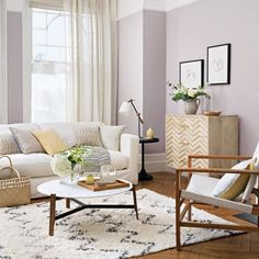 Looking for modern living room design ideas? Be inspired by this modern living room with lilac walls and neutral soft furnishings Living Room Ideas Using Grey, Lilac Living Rooms, Grey Walls Living Room, Stairs In Living Room, My Living Room, Living Room Interior, Living Room Decor, Lilac Walls, Lilac Room