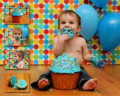 DIY Cake smash. Wrapping paper backdrop.  Although my kids are a little big for this now I couldn
