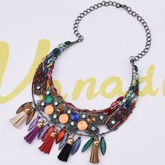 Multicolored Beaded & Tassel Princess Necklace