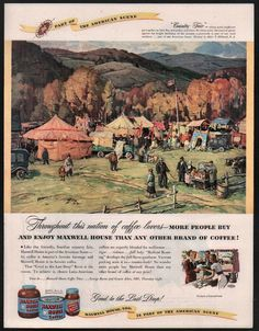 1947 MAXWELL HOUSE Coffee Country Fair Art Vintage AD