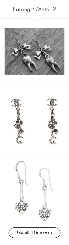 """Earrings/ Metal 2"" by thesassystewart on Polyvore featuring jewelry, earrings, silver gothic jewelry, bow jewelry, goth earrings, gothic earrings, earring jewelry, beading earrings, pave earrings and beads jewellery"