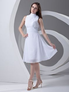 Chiffon High-neck Knee Length Flower Sleevesless A-line Graduation Dress on nextdress.co.uk