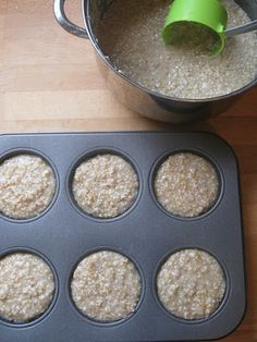Brilliant. Freeze steel cut oatmeal in muffin pans to heat up in a couple of minutes in the morning.