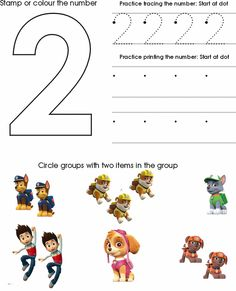 Preschool and kindergarten kids can learn the number two by tracing, counting, and coloring with this fun worksheet.