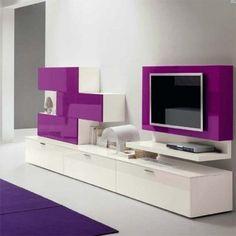 meuble TV de couleur blanche et violette pour le salon moderne