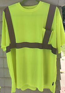 """Occunomix 31"""" T-Shirt High Visibility Yellow Pocket Tee  LUX-SSETP2B-Y4X Size 4X"""