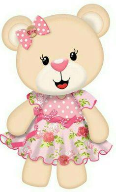 Teddy Bear Cartoon, Cute Cartoon, Felt Animals, Cute Animals, Baby Shower Clipart, Bear Clipart, Felt Animal Patterns, Blue Nose Friends, Bear Girl