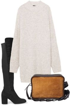 7 comfortable but stylish Thanksgiving outfit ideas to try this holiday season: a sweater dress, over-the-knee boots thigh high boots and crossbody bag. Outfit Designer, Over The Knee Boot Outfit, Knee Boots, High Boots, Holiday Outfits, Winter Outfits, Stuart Weitzman, Thanksgiving Outfit Women, Celebridades Fashion