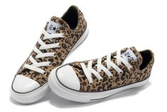 Brown Converse All Star Leopard Print Rock N Roll Low Tops Canvas Women Shoes