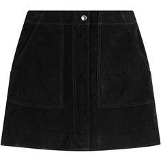 Rag & Bone Suede Mini-Skirt ($475) ❤ liked on Polyvore featuring skirts, mini skirts, bottoms, black, suede mini skirt, retro mini skirt, suede leather skirt, zipper mini skirt and short mini skirts