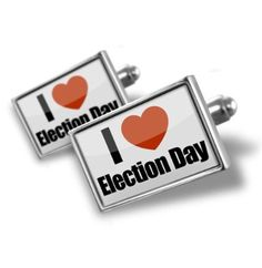 "Cufflinks ""I Love Election Day"" - Hand Made Cuff Links"