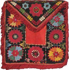 antique ILGICH TABAKLU, Lakai, Uzbekistan,  silk embroidery, XIXth century, circa 56X59 cm  ref 7262