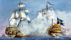 Battle between Russian and Swedish warships