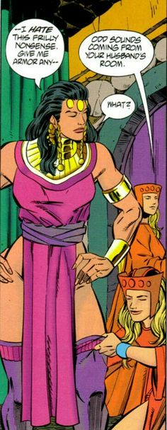 New Gods Big Barda wearing ceremonial robe whether she likes it or not