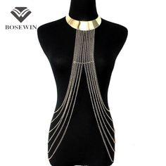 Boho Style Beachy Alloy Collar Body Chains Pendants Bib Women  Charm Jewelry Long Tassel Accessories Chain Necklaces