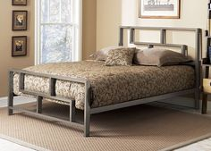 Add a contemporary touch to your bedroom using this Bronx king-size bed. Featuring a minimalist metal construction, the adjustable deck makes a box spring optional, allowing you to choose the aesthetic that best suits your room and style. Platform Bed Designs, Metal Platform Bed, Welded Furniture, Cool Furniture, Cama Industrial, Cama Vintage, Full Size Bedroom Sets, Cheap Mattress, Latex Mattress