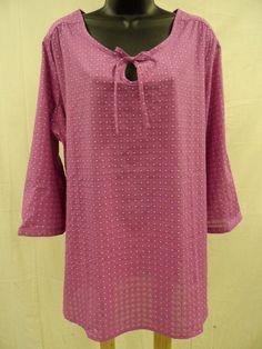 Plus Size 3X  Cotton Blend PEASANT Top Shirt KEYHOLE Lightweight Swiss Dot  NWT…