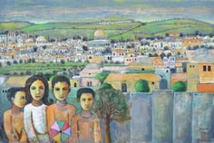 Jerusalem by Palestinian Artist Nabil Anani. Acrylic on canvas, 100 x 140 cm Mickey Mouse Pictures, Middle Eastern Art, Palestinian Embroidery, Pastel Pencils, Jerusalem, 2 Colours, Egypt, Watercolor Paintings, Appreciation