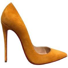 a59f8f2e5b46 Christian Louboutin So Kate 120 Full Moon Suede Heel 38 Yellow Pumps ( 622)  ❤