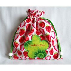 "Pochon/sac à goûter rose rouge vert et blanc ""Fraisier"""