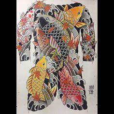 Divine intervention #bodysuit #koi #japonesetattoo #irezumi #painting #彫煙 @purart_tattoo