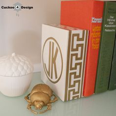 Cuckoo 4 Design: Gold Monogrammed Greek Key Bookend