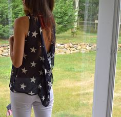 Fourth of July shirt. This might be cute with a red tank or bandeau under it New Outfits, Summer Outfits, Fashion Outfits, Passion For Fashion, Love Fashion, Fourth Of July Shirts, Material Girls, Playing Dress Up, Dress Me Up
