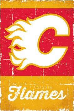 Calgary Flames Retro Logo Sports Poster - 56 x 86 cm Hockey Posters, Hockey Quotes, Sports Posters, Nhl Logos, Sports Team Logos, Calgary, Spokane Chiefs, Wall Decor Pictures, Vancouver Canucks
