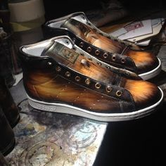 """a 4 colors brown patina on Stan Smith """"med"""", really nice result! Don't you think so?"""