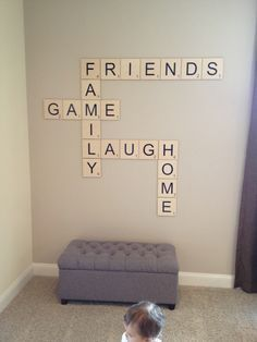 Scrabble wall feature for game room. MomAboutCharlotte.com