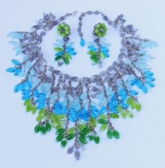 "Vintage signed ""Miriam Haskell"" Glass Necklace & Earrings c. 1950s-1970s."
