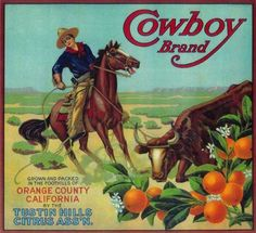 Tustin, Orange County Cowboy Orange Citrus Fruit Crate Box Label Art Print A SLICE IN TIME http://www.amazon.com/dp/B003HNREME/ref=cm_sw_r_pi_dp_68irub0ASGQ61