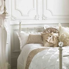 White bedding with a hint of gold, white iron bed... exactly my daughter's style! Elegance~   (Quite similar to her room now)~