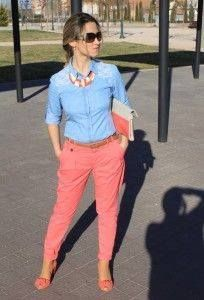 Discover this look wearing Zara Bags, Stradivarius Shirts, Zara Pants, Stradivarius Heels - coral and denim by Elenika styled for Denim, Everyday in the Spring Work Casual, Casual Chic, Casual Looks, Casual Wear, Cool Outfits, Casual Outfits, Summer Outfits, Coral Pants Outfit, Look Fashion