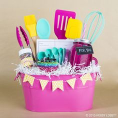 """Whether you're trying to say """"thank you"""" or """"just because,"""" a colorful collection of cooking accessories is always a well-received message!"""