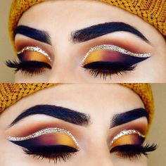53 Ideas eye makeup red and gold eyeliner Matte Makeup, Red Makeup, Eye Makeup Art, Makeup Set, Makeup Goals, Eyeshadow Makeup, Eyeshadow Palette, Makeup Brushes, Yellow Makeup