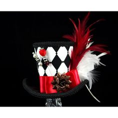 Queen of Hearts – Black, White, and Red Harlequin Empress Collection... ($65) ❤ liked on Polyvore featuring accessories, hats, tea party hats, mini hats, red hat, white hat and top hat