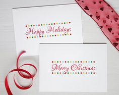 Christmas cards set Happy Holidays Merry Christmas by AvenirCards