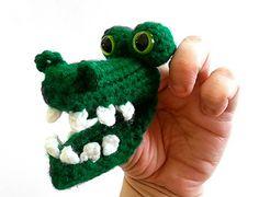 Goofy Gator Finger Puppet/ Crochet Alligator | $2.75 by Whispered Whimsy