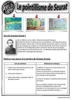 In the manner of Seurat Pointillism Arts vi Georges Seurat, Middle School Art, Art School, Art Montessori, Montessori Elementary, Artist Project, Art Worksheets, Ecole Art, Art Curriculum