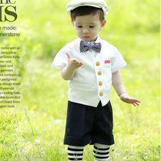 5 Piece White Black Boys Kids Dress Vest Shirt Shorts Suit Outfit SKU-132149